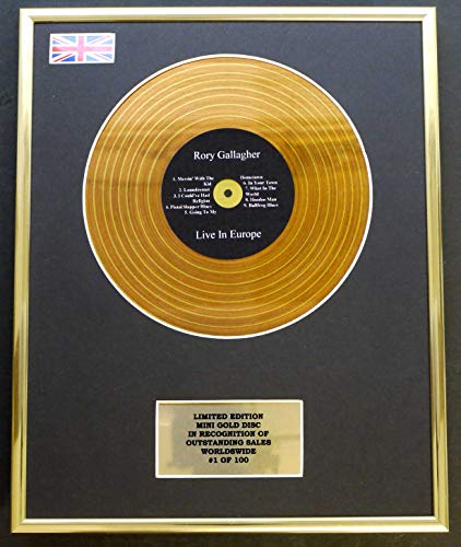 Everythingcollectible Rory Gallagher/Mini Gold Disc Display/Limitierte Auflage/COA / Live in Europe