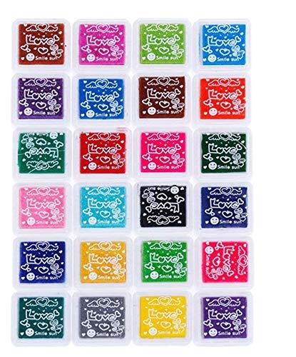 Yongbest Coussins Encreurs,24 Couleurs Tampon Encreur Encre Empreinte Digitale pour Tissu de Métier de Papier,Scrapbooking,Mariage sur Toile