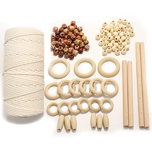 Macrame Cuerda 3mm x 100 m Hilo de Algodón y Perlas Para...