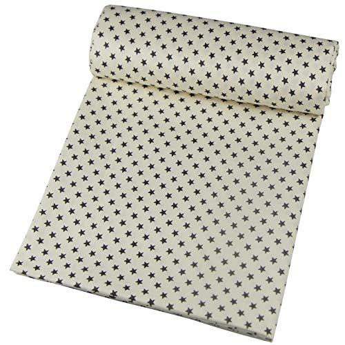 aufodara 1 Stück Stoff Meterware 1lfm 150CM breit, Reiner Baumwolle, Dekostoff Baumwollstoff zum Nähen, Baumwolltuch modische Muster (Beige - Dunkelgrau Sterne)