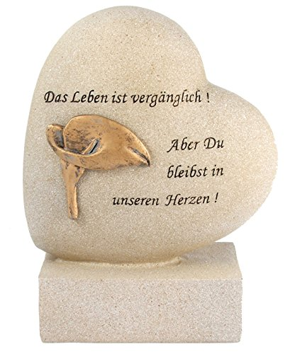 Paul Jansen Herz auf Sockel Calla Grabdekoration, Creme, 18.5 x 14.0 x 17.0 cm