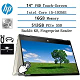 "2020 Newest HP x360 Pavillion 2in1 Convertible 14"" FHD Touchscreen Flagship Laptop, 10th Gen Intel Core i5-1035G1(Beat i7-8550U), 16GB RAM, 512GB PCIe SSD, FP-Reader,Backlit-KB,Win10,/w GM Accessories"