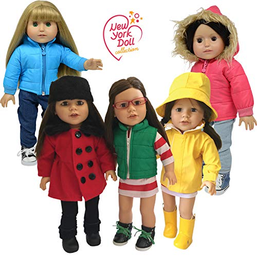The New York Doll Collection 18' Doll Clothes for American Girl Doll Clothing - 5 Doll Winter Coats Fits 18' Dolls