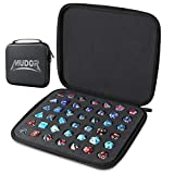 MUDOR Premium PU Dice Case with Removable Perforated Tray, Dice Bag Can Holds 42 Polyhedral Dice Storage, Dice Holder Compatible with DND and Dungeons & Dragons Game Dice, Black