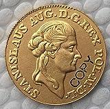 Moneda de Polonia 1 Dukat 1789 bañada en Oro de 24 K Colección de Monedas conmemorativas de 21 mm