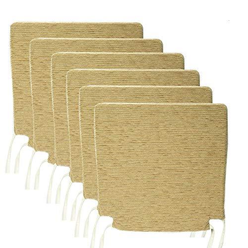 Arcoiris Pack de 6 Cojines de Asiento y Silla, 40x40X3cm,Relleno de Fibra, Cómodos, Resistentes, para Cocina, Cuarto, Sala, Jardín, Terraza, Patio, (Espuma, Gris) (Pack 6 Cojines, Caqui)