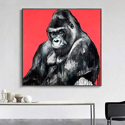 N / A Art-Deco-Malerei Schwarzes Gorilla-Wandbild Posing Tiermalereien Wohnzimmer Leinwanddrucke Rahmenlos 40X40CM