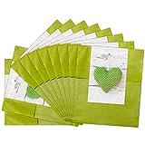 25 kleine grüne Papiertüten Geschenktüten Geschenk-Verpackung (9,5 x 14 cm) inkl. Aufkleber'Grünes Herzerl'