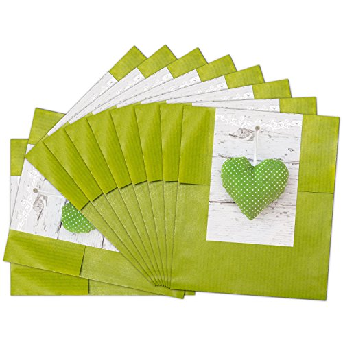 """25 kleine grüne Papiertüten Geschenktüten Geschenk-Verpackung (9,5 x 14 cm) inkl. Aufkleber\""""Grünes Herzerl\"""""""