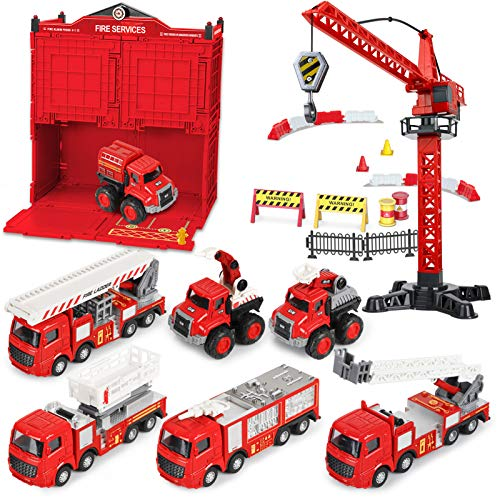 Fire Truck Toy Playsets, 63pcs Kids Alloy Emergency Rescue Fire Engine Vehicles, Lifting Ladder Water Bump Truck, Firefighter Toy Cars for 3 4 5 6 Years Old Xmas Birthday Gift Toddler Boys