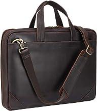 Sponsored Ad - Genuine Leather Slim Briefcase for Men 15.6 Inch Laptop Crossbody Shoulder Messenger Bags Brown Vintage Att...
