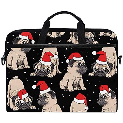 D.T.G Laptop Case Entzückende Beige Welpen Möpse In Der Roten Kappe Eines Weihnachtsmanns Laptoptasche Umhängetasche Umhängetasche Mit Schultergurtgriff,Geschenke Für Den Schulanfang,14-14,5 Zoll
