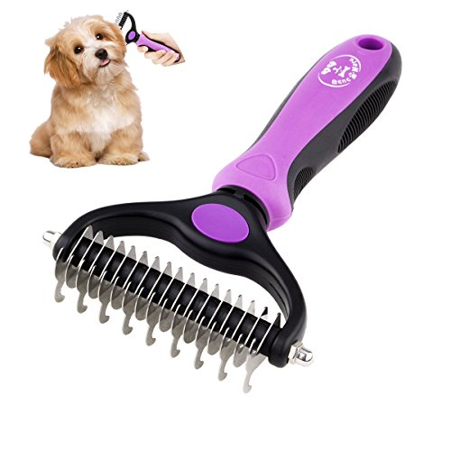 BENCMATE Dematting Comb Tool for Dogs Cats Pet Grooming Undercoat Rake with Dual Side - Gently Removes Undercoat Knots Mats(Purple)
