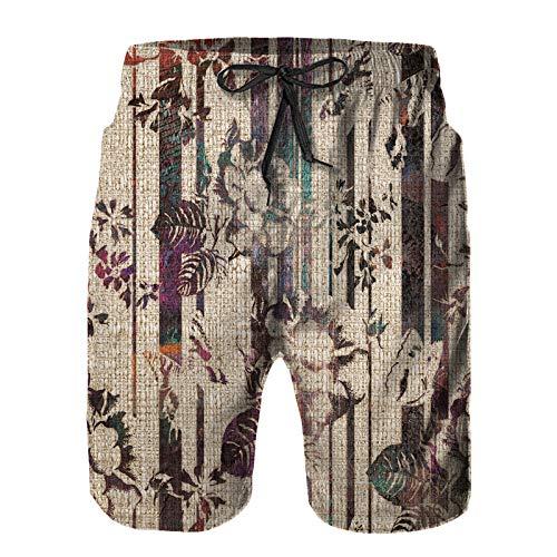 Hombres Verano Secado rápido Pantalones Cortos Playa diseño Decorativo de Flores de Adorno Vintage Trajes de baño Correr Surf Deportes-4XL