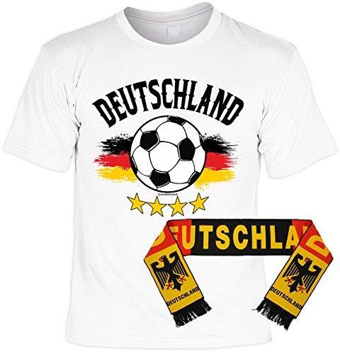 VERI 2-teiliges Fussball WM 2018 Deutschland T-Shirt Fahne Fanartikel Set Bundesliga Fan Trikot in weiss und Fußball EM WM Fanschal 158x18 cm Gr. S : -