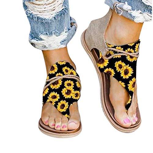 Sandalias retro de verano 2021 para mujer, sandalias casuales de gladiador bohemio retro con flecos con clip plano de dedo del pie de tobillo botas de playa con correa en T sandalias (A40)