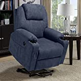 MAGIC UNION Power Lift Chair Wireless Remote Control Electric Recliner for Elderly Heated Vibration Massage Fabric Living Room Chair Single Sofa with 2 Cup Holders and Side Pockets USB Charge Port