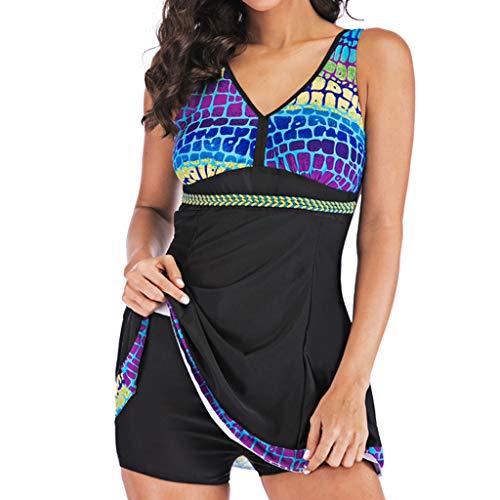 Tankinis Mujer 2019 SHOBDW Bikini Push Up Traje de Baño Mujer Dos Piezas Gradiente Bañadores de Mujer Tallas Grandes Braguitas Tangas Culotes Pantalones Cortos Traje de Baño Vestido(Negro,3XL)