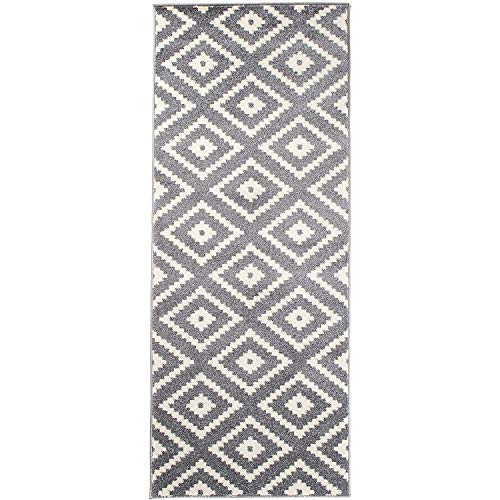 Carpeto Rugs Teppich Läufer Flur - Orientalisch Geometrisch Teppichläufer - Kurzflor, Weich - Flurläufer für Wohnzimmer, Schlafzimmer - Teppiche - Meterware - Grau - 80 x 300 cm