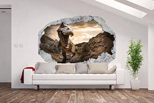 Vlies fotobehang/poster XXL / 3D wanddillusie/gat in de muur *Dino/Dinos/kinderkamer*