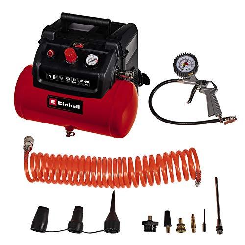 Einhell Kompressor TC-AC 190/6/8 OF Set (8 bar, 6 Liter Drucklufttank, öl-/servicefreier Motor, Druckminderer, inkl. Ausblaspistole, Reifenfüller, 5 m Schlauch + 8 Adapter)