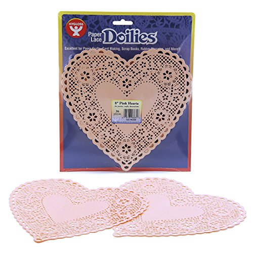 Hygloss Products Heart Paper Doilies – 8 Inch Pink Lace Doily for Decorations, Crafts, Parties, 36 Pack