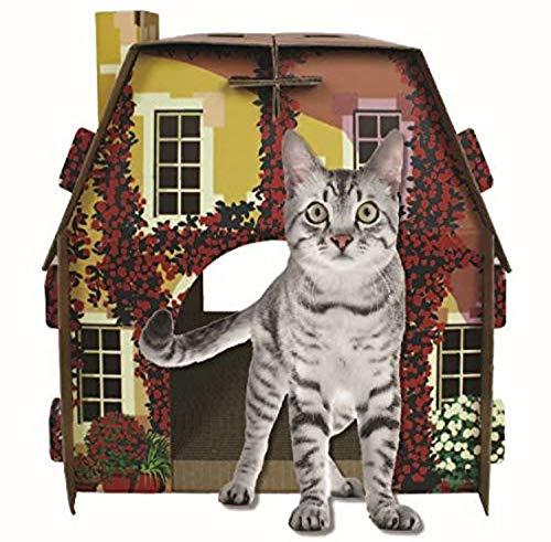 American Cat Club Mediterranean Villa Cat House & Scratcher w/ Catnip