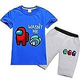 Baonmy Among Us Jungen T-Shirt und Shorts Set Mädchen Sommer unter uns Set (blau, 5–6 Jahre)