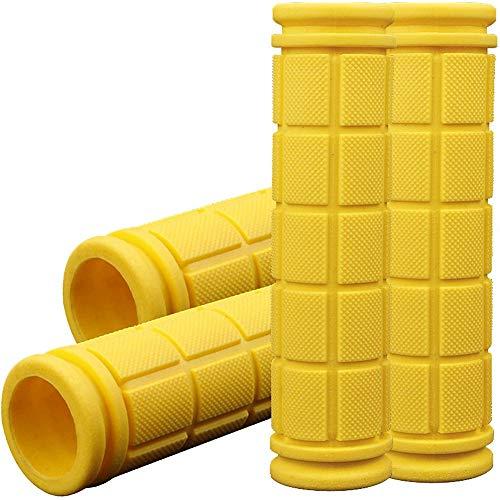 Gesh 4 empuñaduras para manillar de bicicleta para niños, de goma, antideslizantes, para montaña, playa, crucero, color amarillo