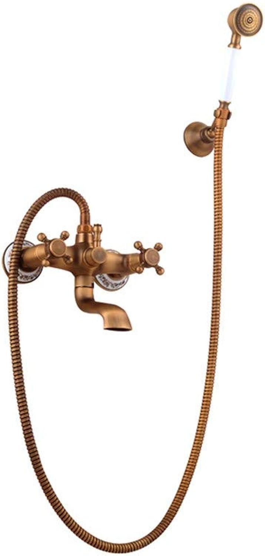WTYNMOP Shower set shower retro retro copper bathroom hot and cold shower faucet shower