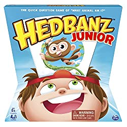 """Younger kids can now join in the excitement with HedBanz Jr.! With an animal theme, the hilarious quick question game of """"What animal am I?"""" is available for players age 5+. You never know what you are until you start asking questions! Players grab a..."""