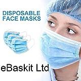 HCTian - 50 maschere monouso a 3 strati, con elastico per orecchie, protezione personale, antipolvere, con sacchetto sigillato standard, 50 pezzi