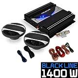 electronic star Auna Black Line 200 - Set sonorisation Auto - Pack ampli + Enceintes pour Voiture (HP 16,5 cm, fourni avec câbles) - Noir