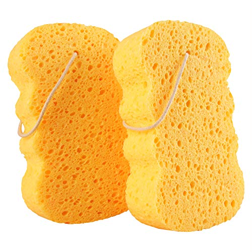 GAINWELL Bath Sponges  Natural Cellulose Sponge Shower Exfoliating Loofah for Women  2PCS