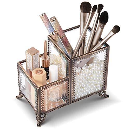 Sunix Titular de cepillo de maquillaje vintage de cristal premium organizador de maquillaje para guardar pinceles lápiz labial, vitrinas cosméticas vintage