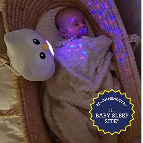 Bubzi Co Baby Spielzeug Schlafhilfe & Nachtlicht & Beruhigende Sound-Maschine & Babyparty-Geschenk, LED-Sternenprojektor & tragbare Stofftier-Eule mit 10 beliebten Schlafliedern & Kinder-Musik zum Einschlafen, Kuscheltier