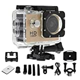 karrychen Waterproof Diving 1080P HD Sports Camera Helmet CAM Video Camcorder DVR DV Action Recorder Electronic Articles- Gold