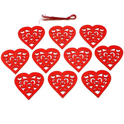 RROVE 10pcs Amore Cuore abbellimenti in Legno Ornamento Appeso Artigianato San
