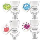 4 x Pegatina WC Monster, Toilettensticker Funny Kids Equipo de baño - LK-Trend & Style