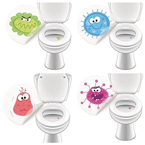 4 x Aufkleber WC Monster, Toilettensticker lustig Kinder Badausstattung - LK-Trend & Style