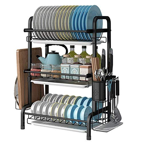 LONGJUAN-C Home Drain Rack 3 Tier Dish Drying Rack Over The Sink, Stainless Steel Kitchen Supplies Storage Organizer One Size Dish Drainer (Color : Picture Color, Size : Picture Size) Dish Rack