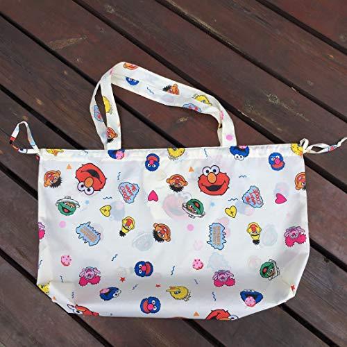 MIDUO Sesame Shopping Bags Cartoon Bags Travel Bag Large Capacity Storage Bag Shoulder Bag Foldable Bag,Fashion Beige