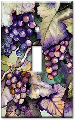 Placa de interruptor de luz - Placa de interruptor de palanca de una sola banda/placa de pared de tamaño superior - uvas y hojas