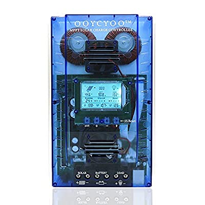 OOYCYOO MPPT Charge Controller 60 amp 12V/24V Auto, 60A Solar Panel Charge Regulator with Blacklight LCD Display Max 100V for Lead-Acid Sealed Gel AGM Flooded Lithium Battery(K60AL-Pro)