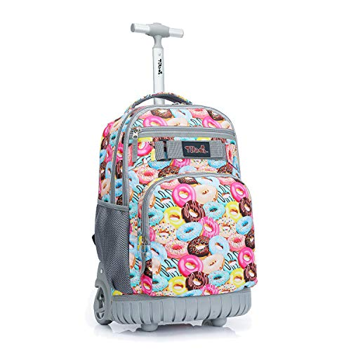 Tilami Rolling Backpack 18 inch Wheeled Laptop Backpack School College Student Travel Trip Boys and Girls, Doughnut