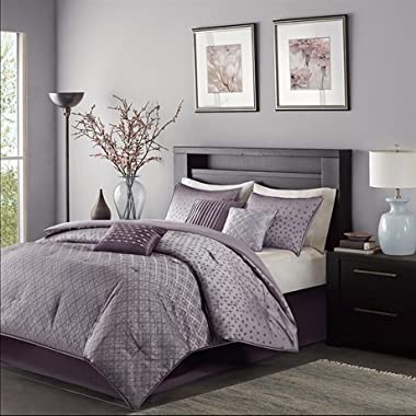 Madison Park Biloxi Queen Size Bed Comforter Set Bed In A Bag - Purple, Geometric – 7 Pieces Bedding Sets – Ultra Soft Microfiber Bedroom Comforters