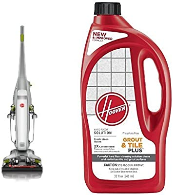 Hoover FloorMate Deluxe Hard Floor Cleaner, FH40160PC - Corded and Hoover 2X FloorMate Tile & Grout Plus Hard Floor Cleaning Solution 32 oz, AH30435 Bundle