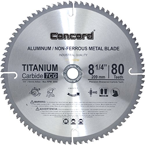 Concord Blades ACB0825T080HP 8-1/4-Inch 80 Teeth TCT Non-Ferrous Metal Saw Blade