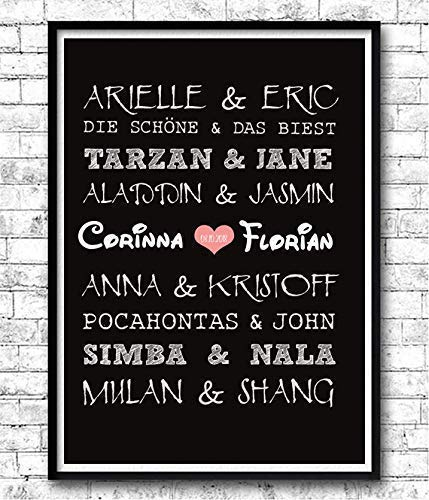 TinyTami ★ Kunstdruck Hochzeitsgeschenk ★ Disney Paare ★ Fantasy ★ A4 oder A3 ★ Fineart Print ★ Poster ★ Bild ★ Liebe ★ Hochzeit ★ Brautpaar ★100% handmade