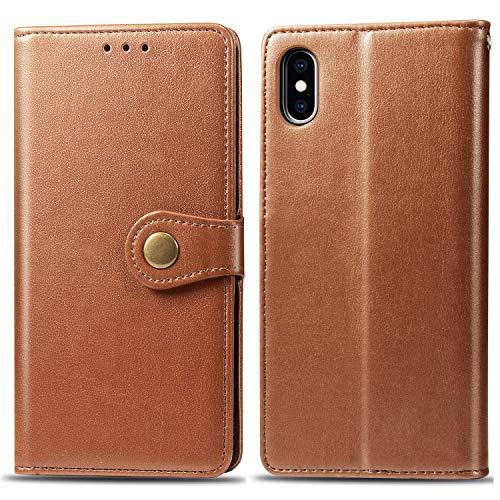 Oihxse Kompatibel mit iPhone XS/S Hülle PU Leder,Schutzhülle Flip Case mit Magnetverschluss und Kartenfächer,Premium Tasche Case für iPhone XS/S mit Standfunktion (Braun)